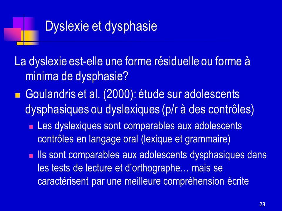 Dyslexie et dysphasie La dyslexie est-elle une forme résiduelle ou forme à minima de dysphasie
