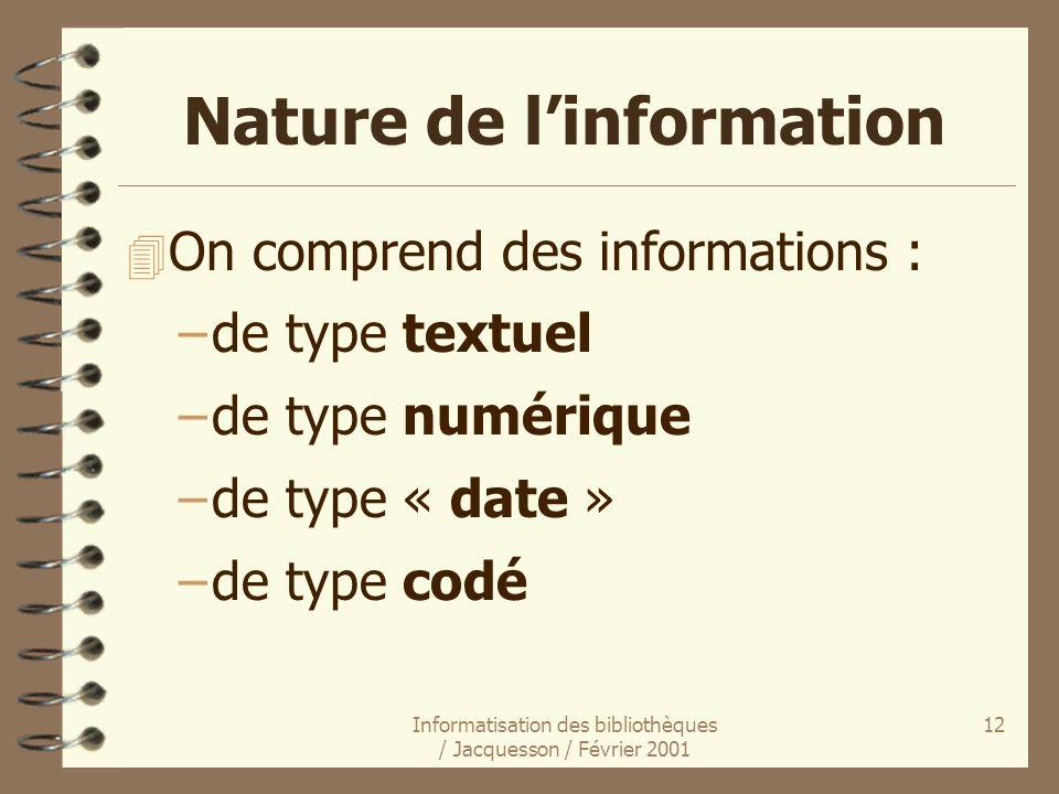 Nature de l'information