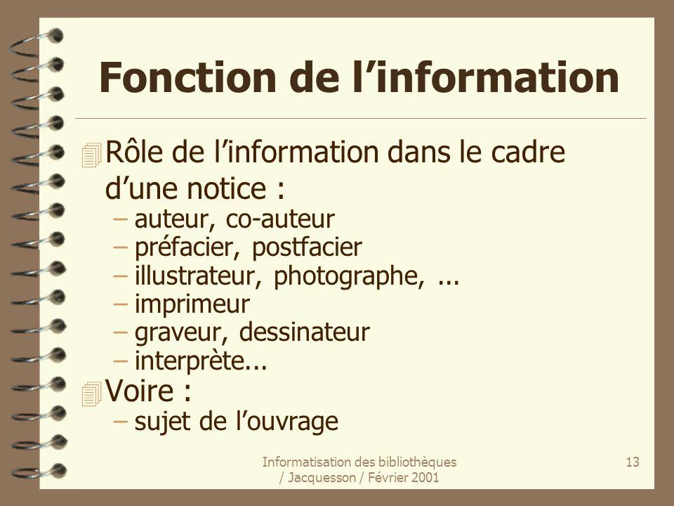 Fonction de l'information