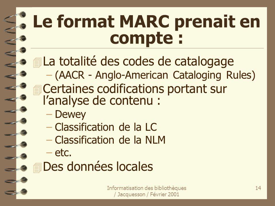 Le format MARC prenait en compte :