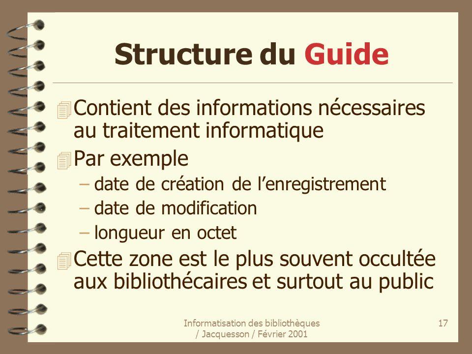 Informatisation des bibliothèques / Jacquesson / Février 2001