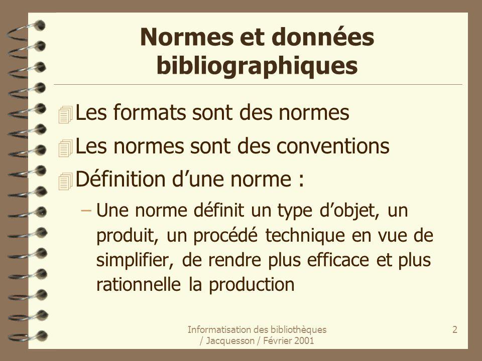 Normes et données bibliographiques