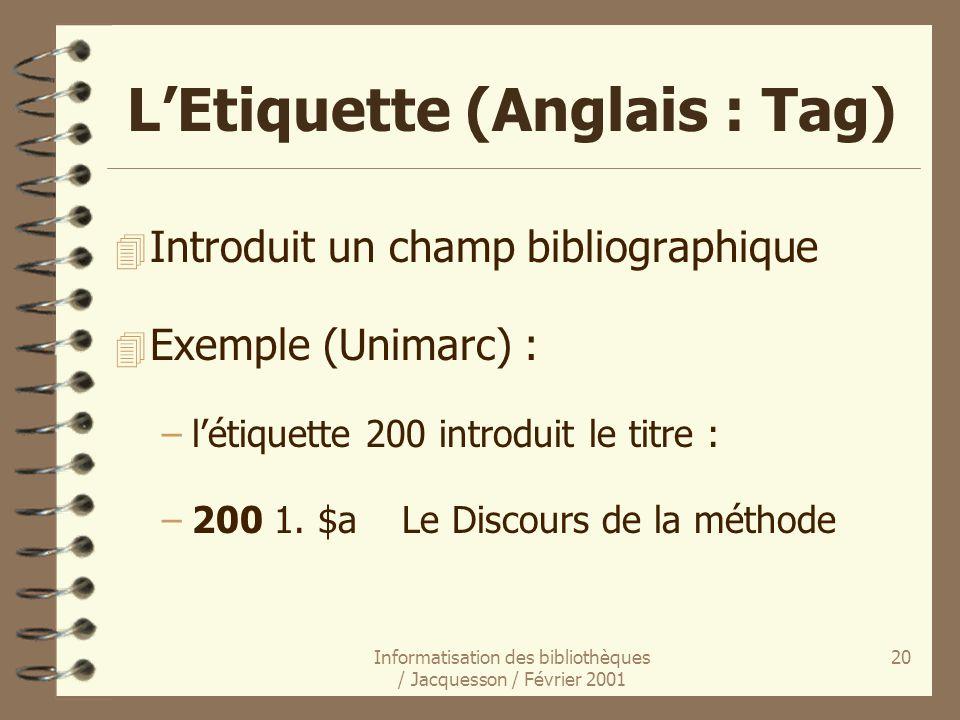 L'Etiquette (Anglais : Tag)