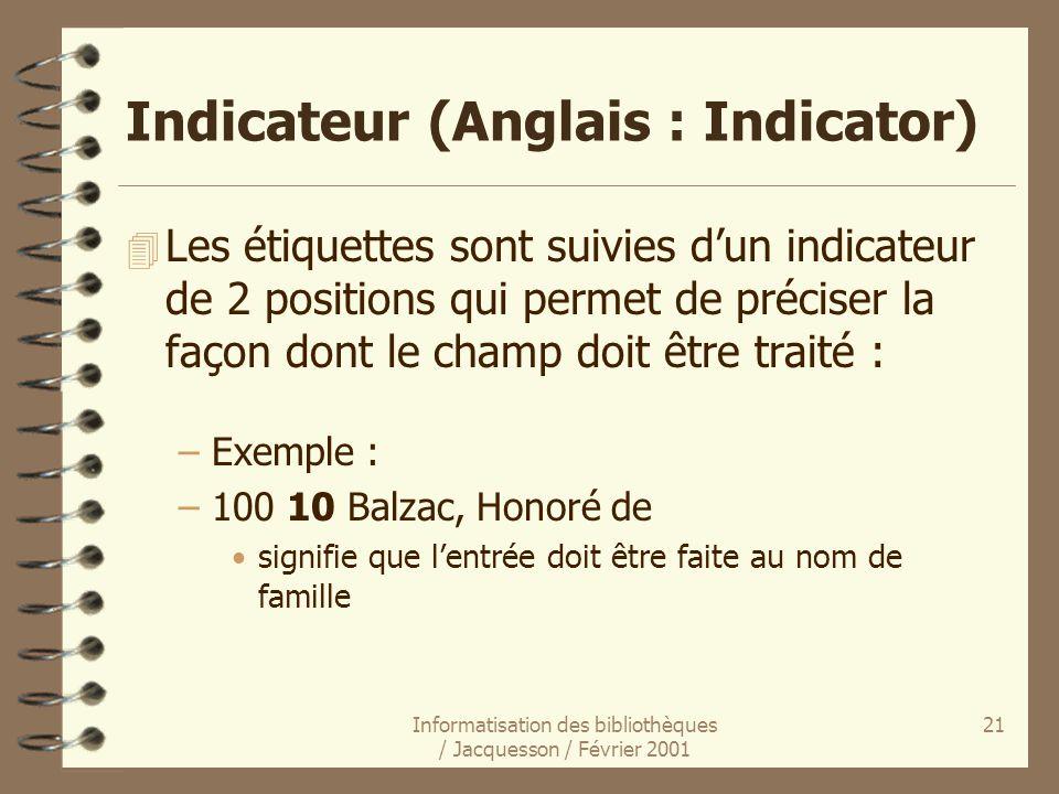 Indicateur (Anglais : Indicator)