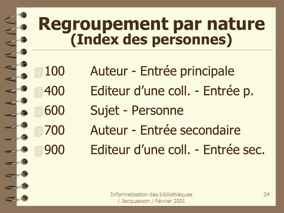 Regroupement par nature (Index des personnes)