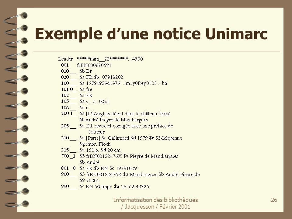 Exemple d'une notice Unimarc