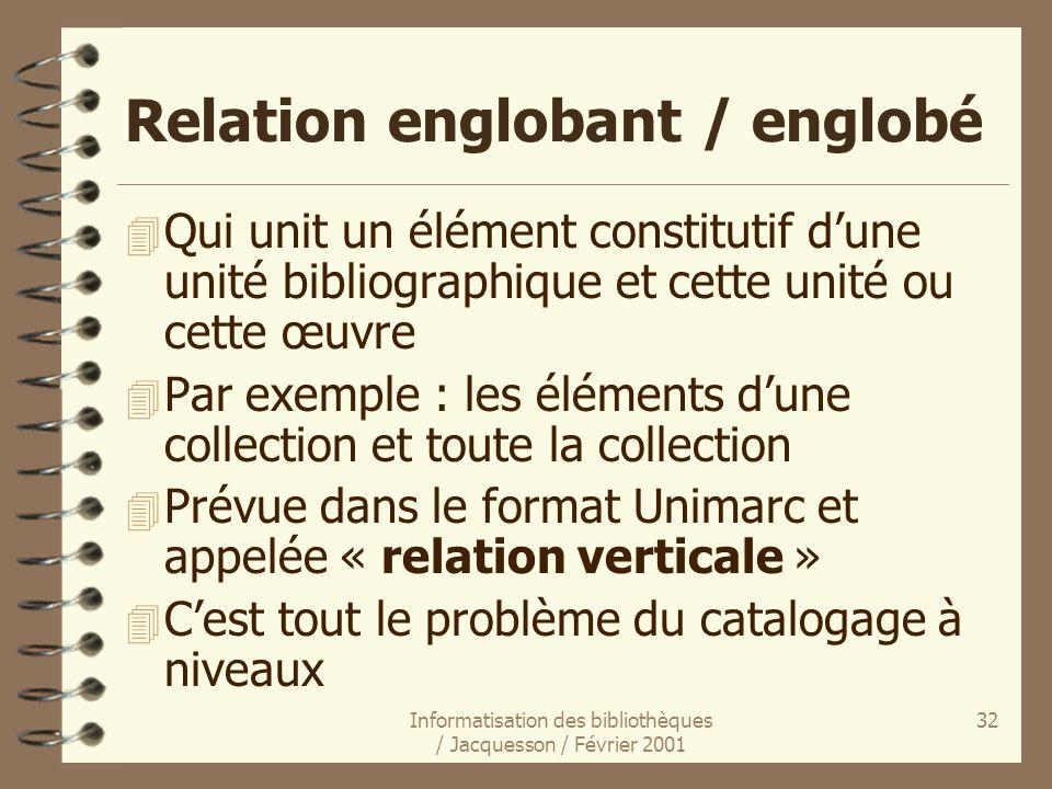 Relation englobant / englobé