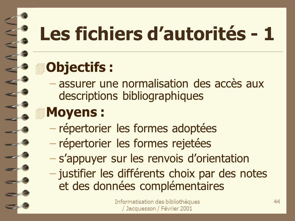 Les fichiers d'autorités - 1