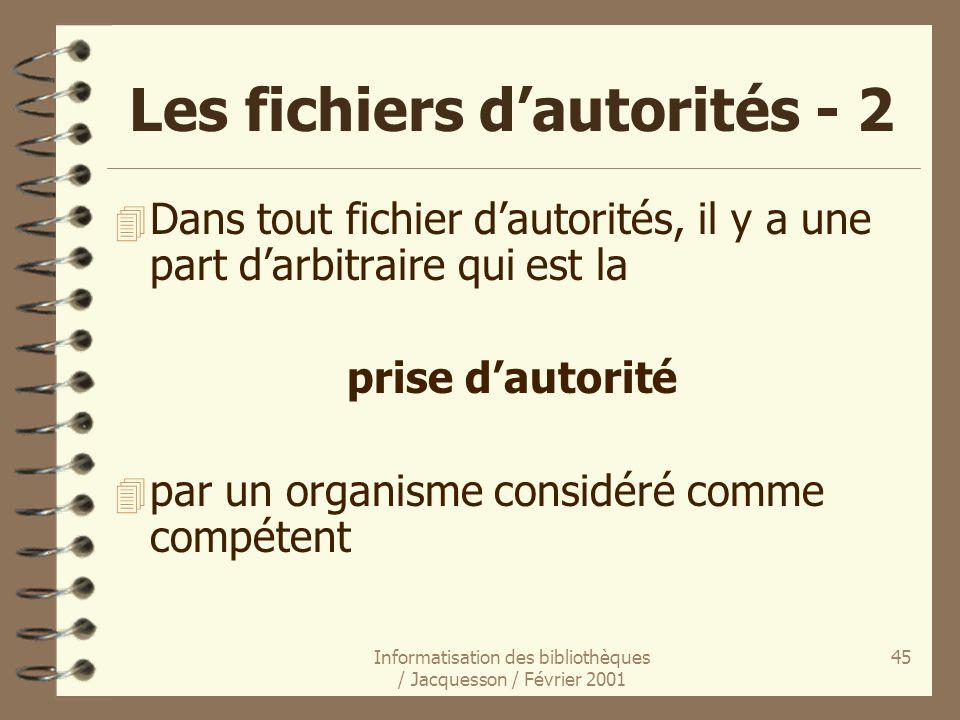 Les fichiers d'autorités - 2