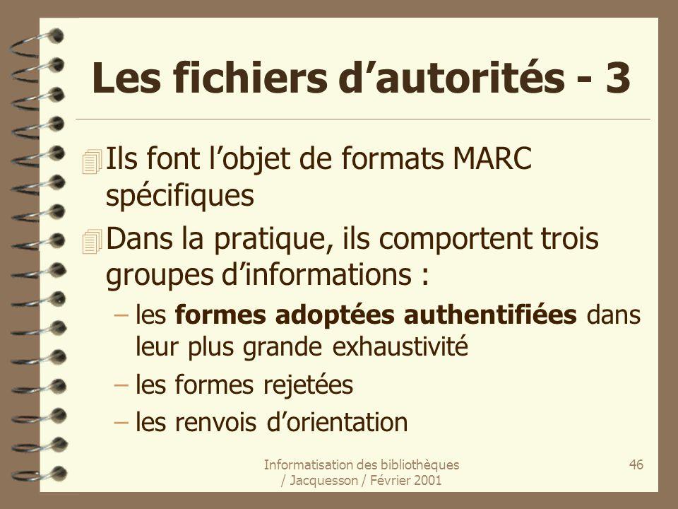 Les fichiers d'autorités - 3
