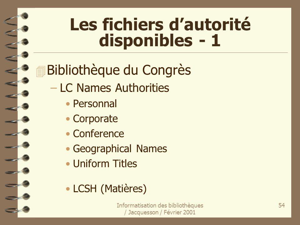 Les fichiers d'autorité disponibles - 1