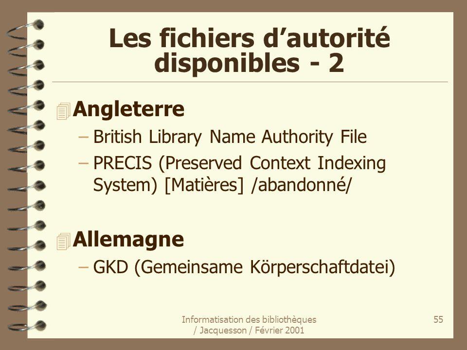 Les fichiers d'autorité disponibles - 2