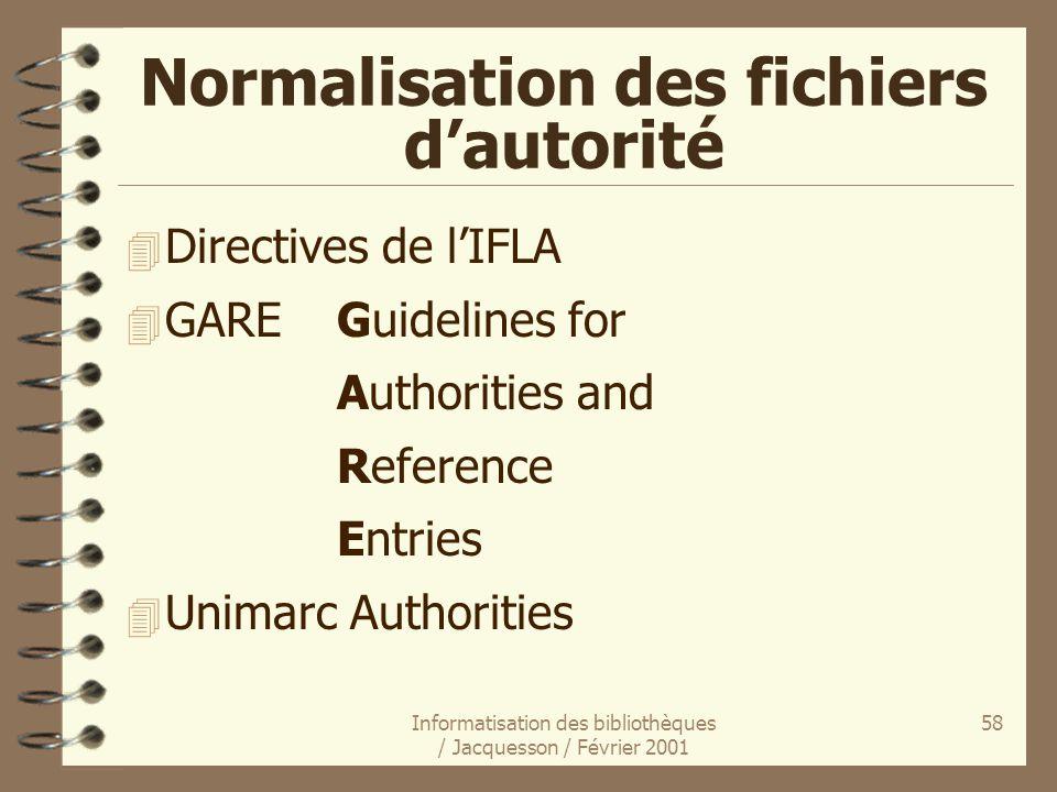 Normalisation des fichiers d'autorité