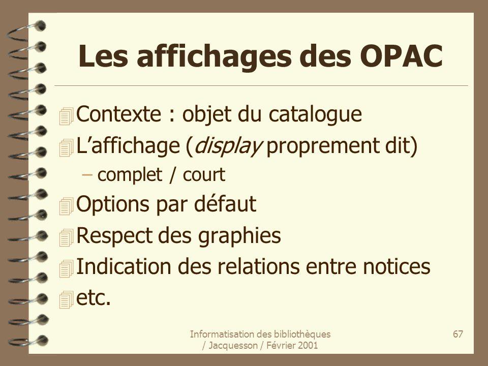 Les affichages des OPAC