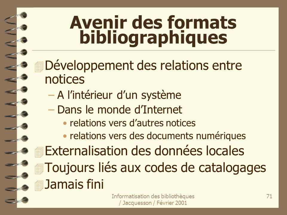 Avenir des formats bibliographiques
