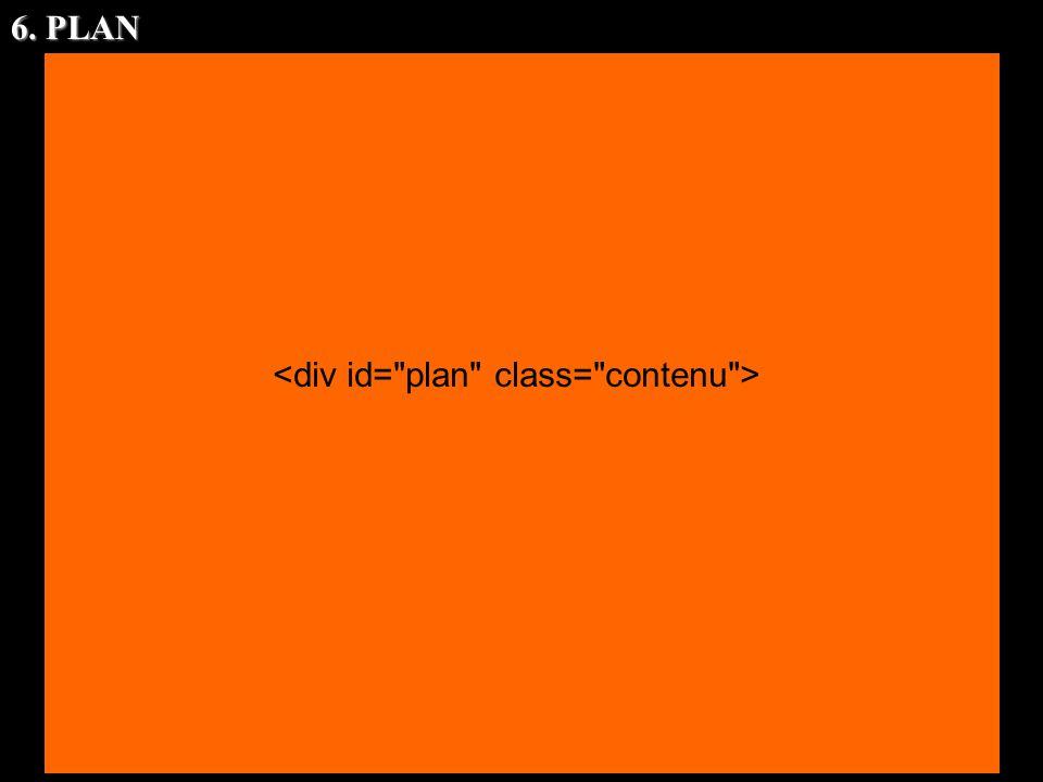 6. PLAN <div id= plan class= contenu >