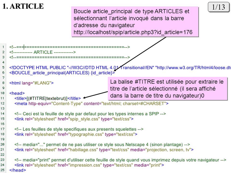1. ARTICLE 1/13. Boucle article_principal de type ARTICLES et sélectionnant l'article invoqué dans la barre d'adresse du navigateur.