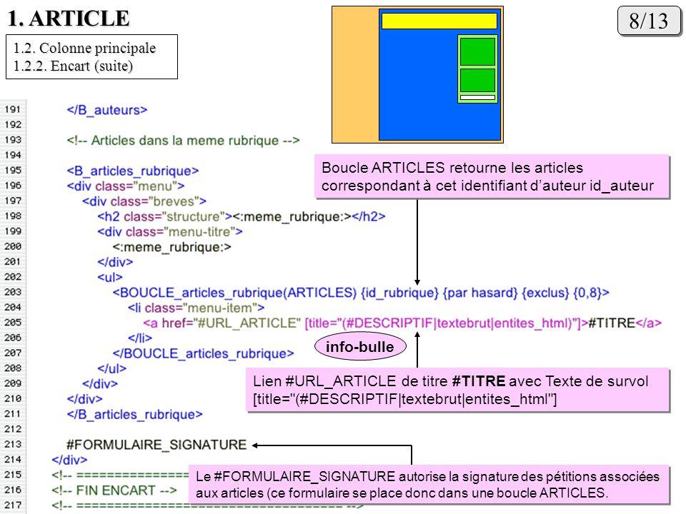 1. ARTICLE 8/13 1.2. Colonne principale 1.2.2. Encart (suite)