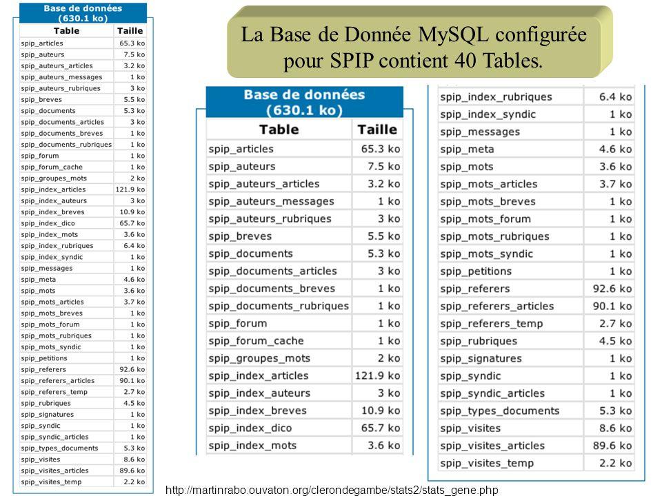 La Base de Donnée MySQL configurée pour SPIP contient 40 Tables.