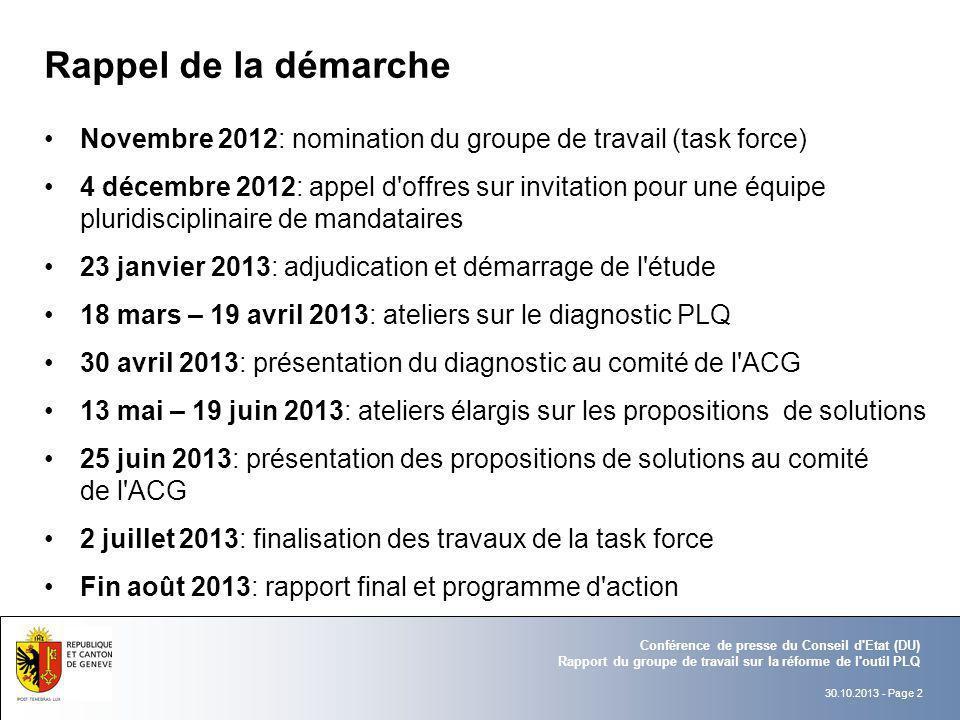 Rappel de la démarche Novembre 2012: nomination du groupe de travail (task force)