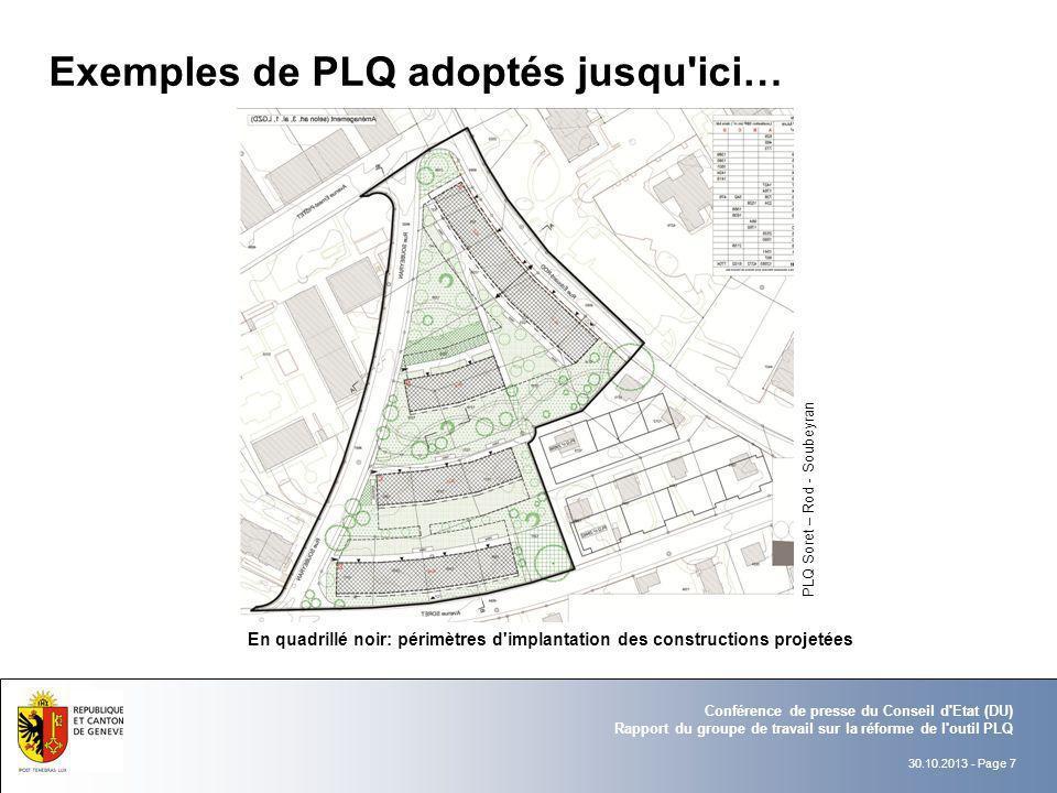 Exemples de PLQ adoptés jusqu ici…