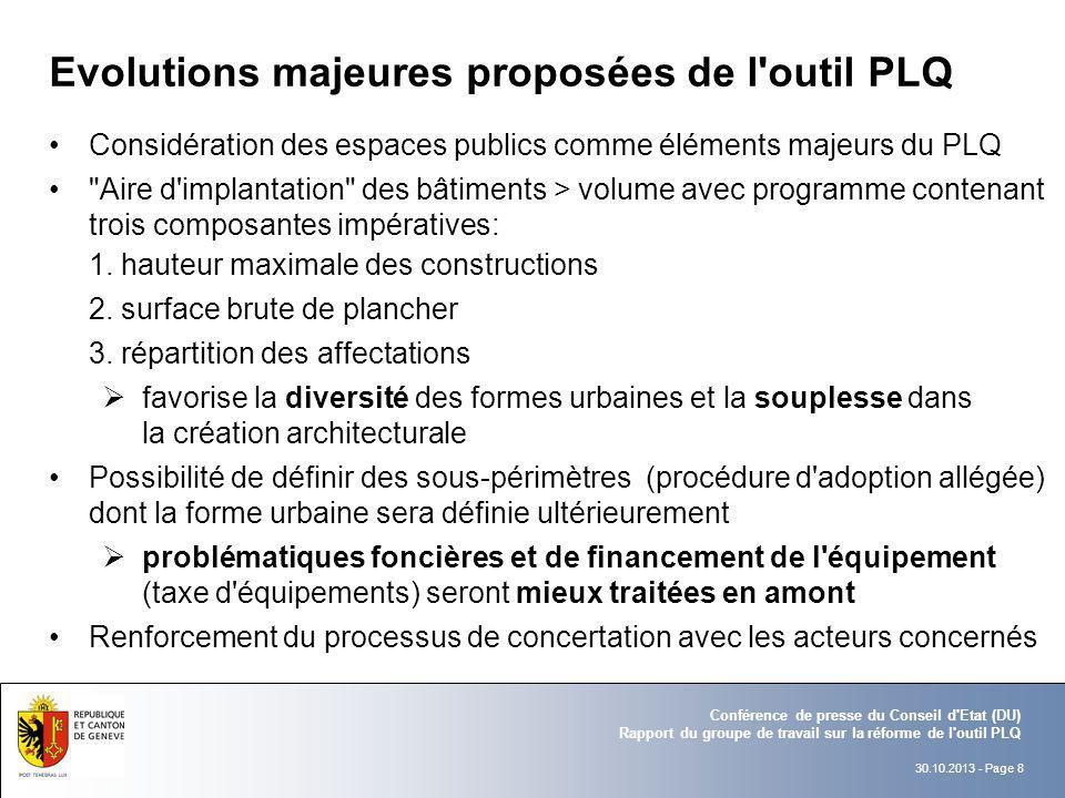 Evolutions majeures proposées de l outil PLQ