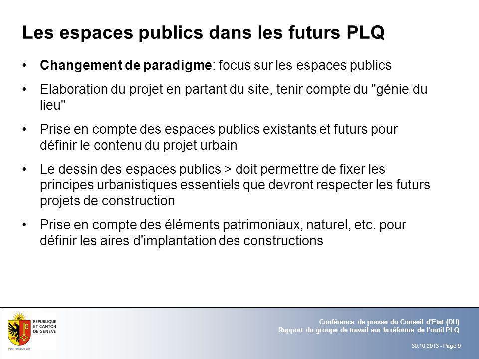 Les espaces publics dans les futurs PLQ