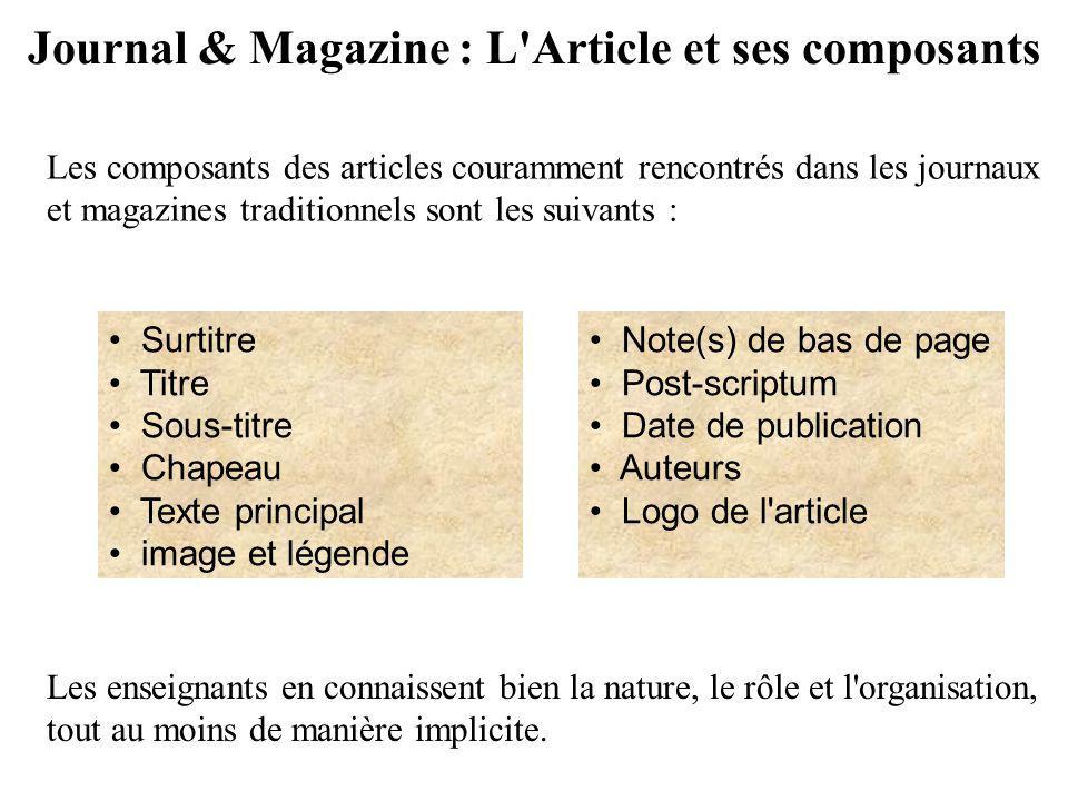 Journal & Magazine : L Article et ses composants