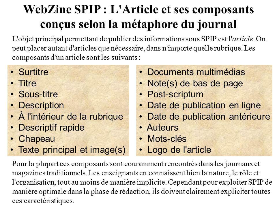 WebZine SPIP : L Article et ses composants
