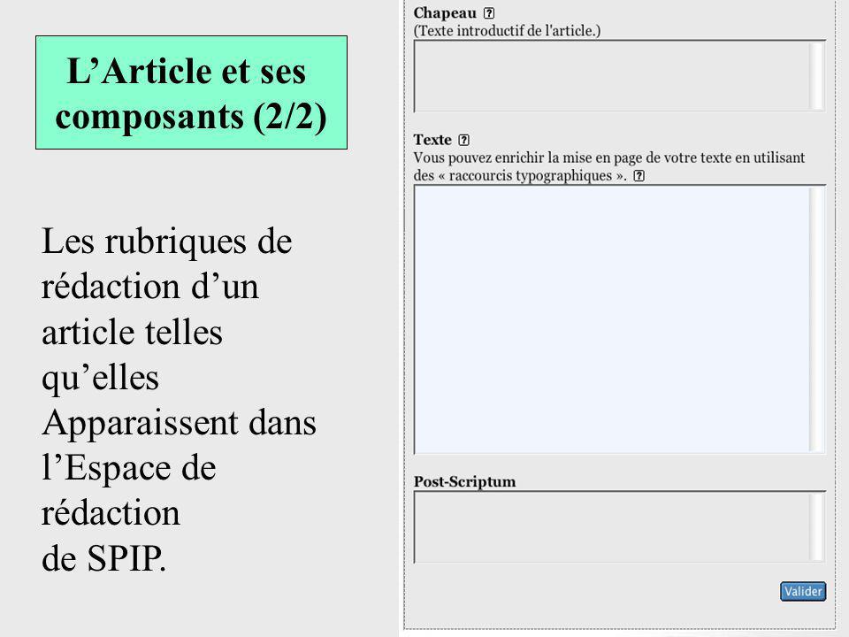 L'Article et ses composants (2/2) Les rubriques de rédaction d'un article telles qu'elles. Apparaissent dans l'Espace de rédaction.
