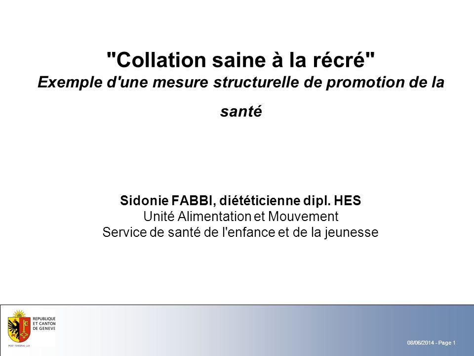 Collation saine à la récré Exemple d une mesure structurelle de promotion de la santé Sidonie FABBI, diététicienne dipl.