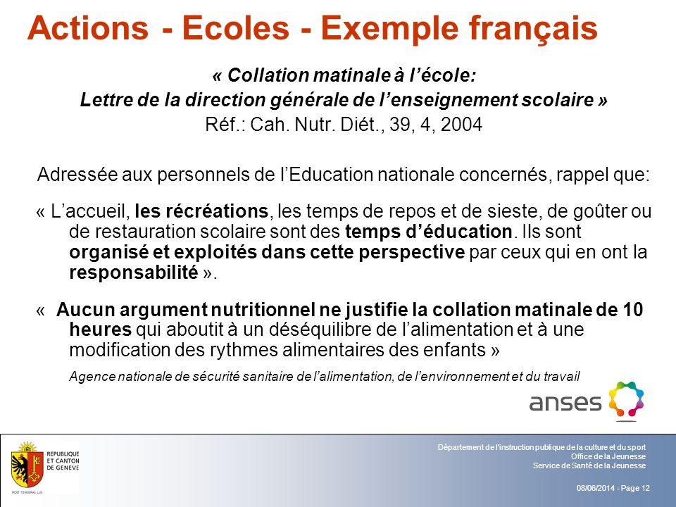 Actions - Ecoles - Exemple français