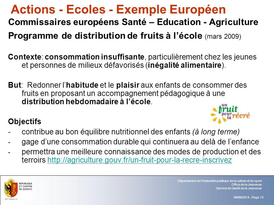 Actions - Ecoles - Exemple Européen