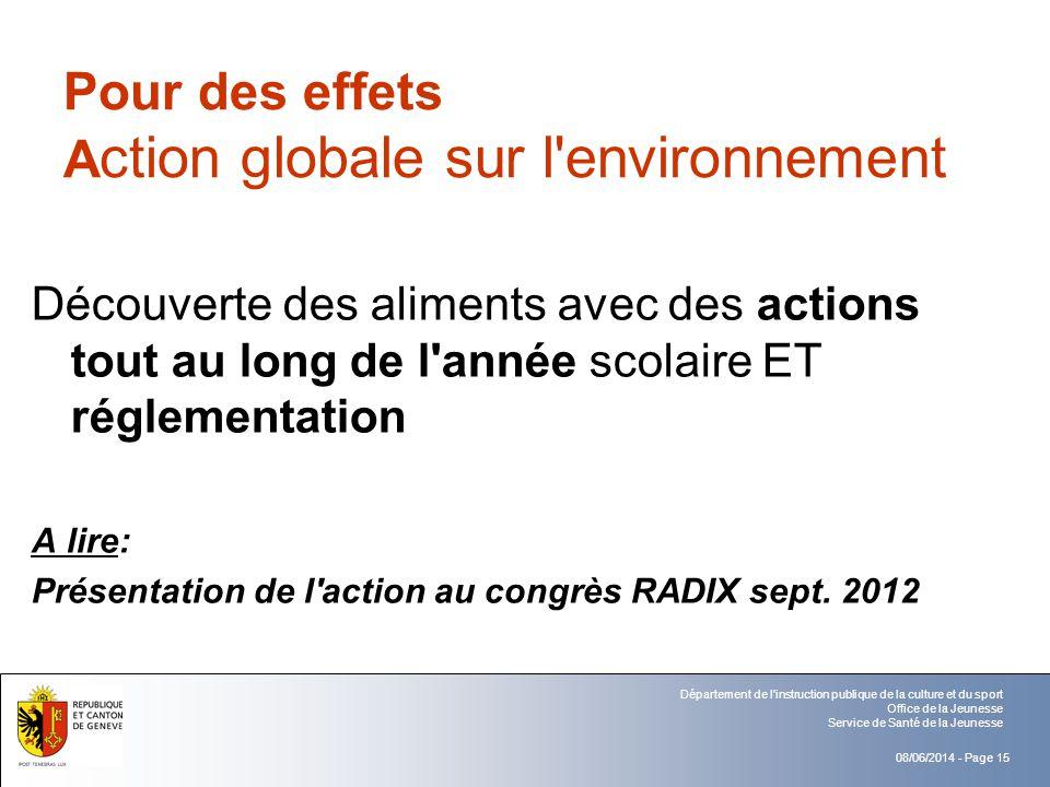 Pour des effets Action globale sur l environnement