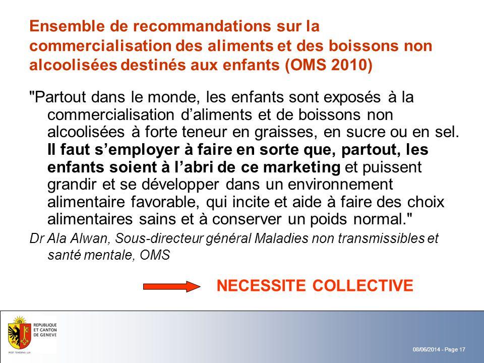 Ensemble de recommandations sur la commercialisation des aliments et des boissons non alcoolisées destinés aux enfants (OMS 2010)