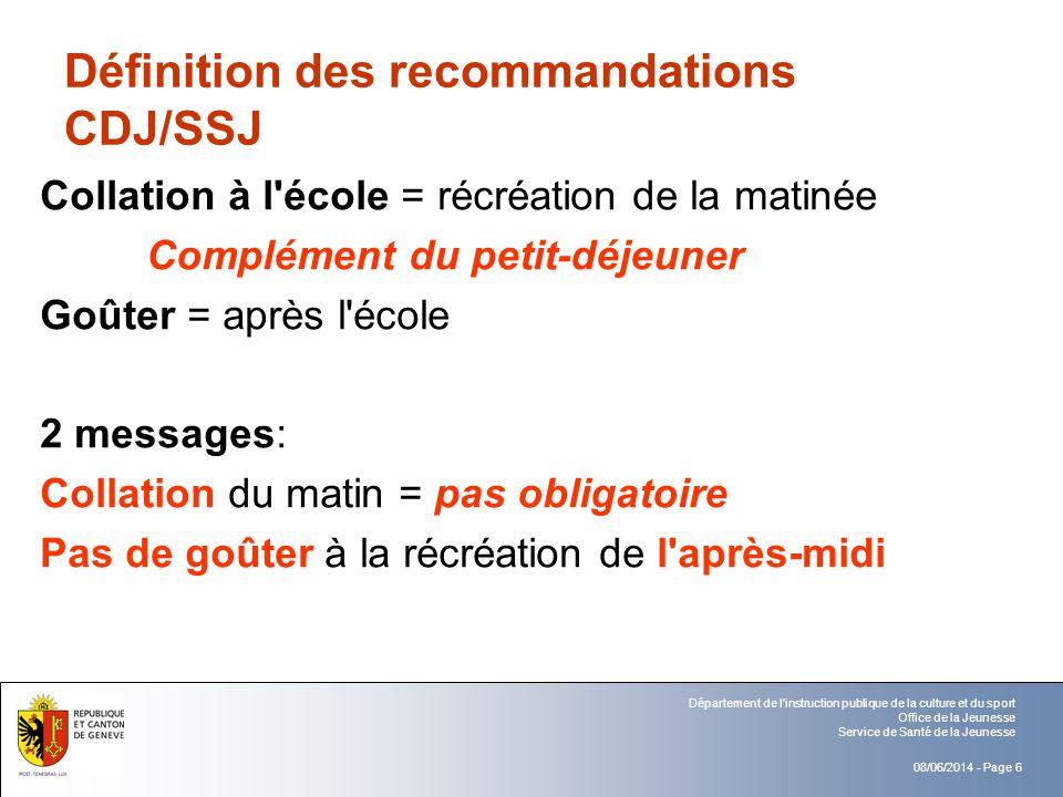 Définition des recommandations CDJ/SSJ
