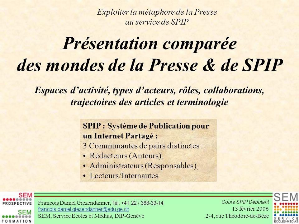 Présentation comparée des mondes de la Presse & de SPIP