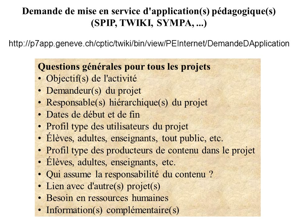 Demande de mise en service d application(s) pédagogique(s)