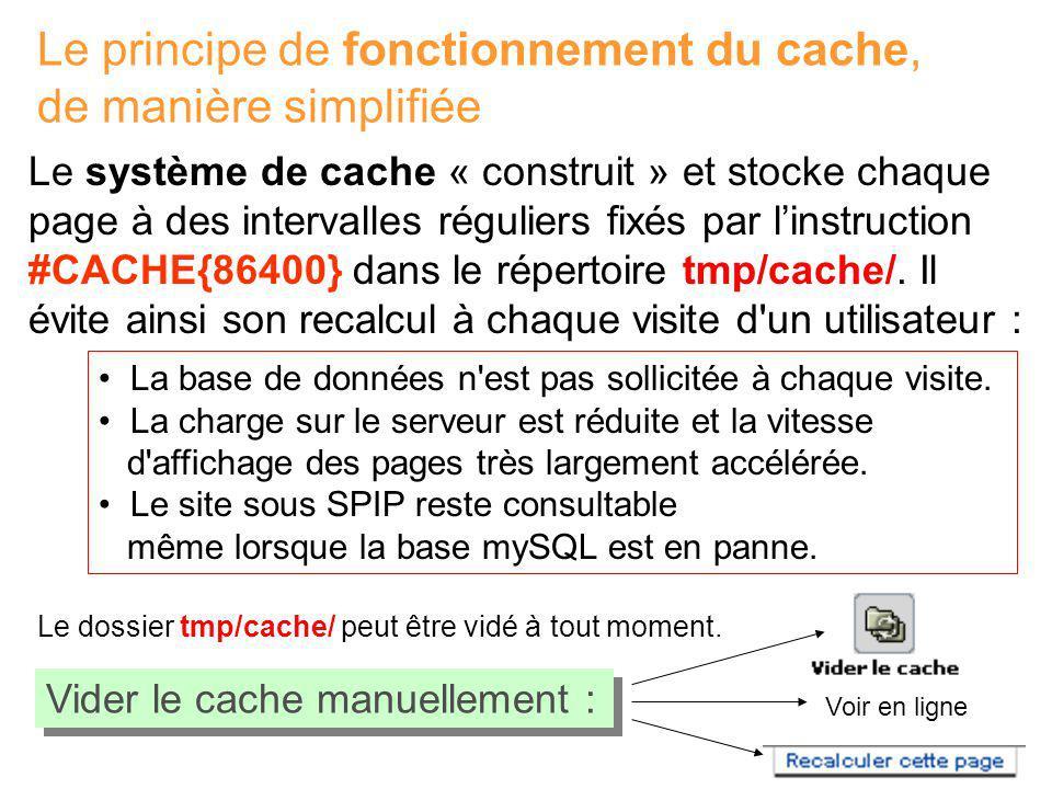 Le principe de fonctionnement du cache, de manière simplifiée
