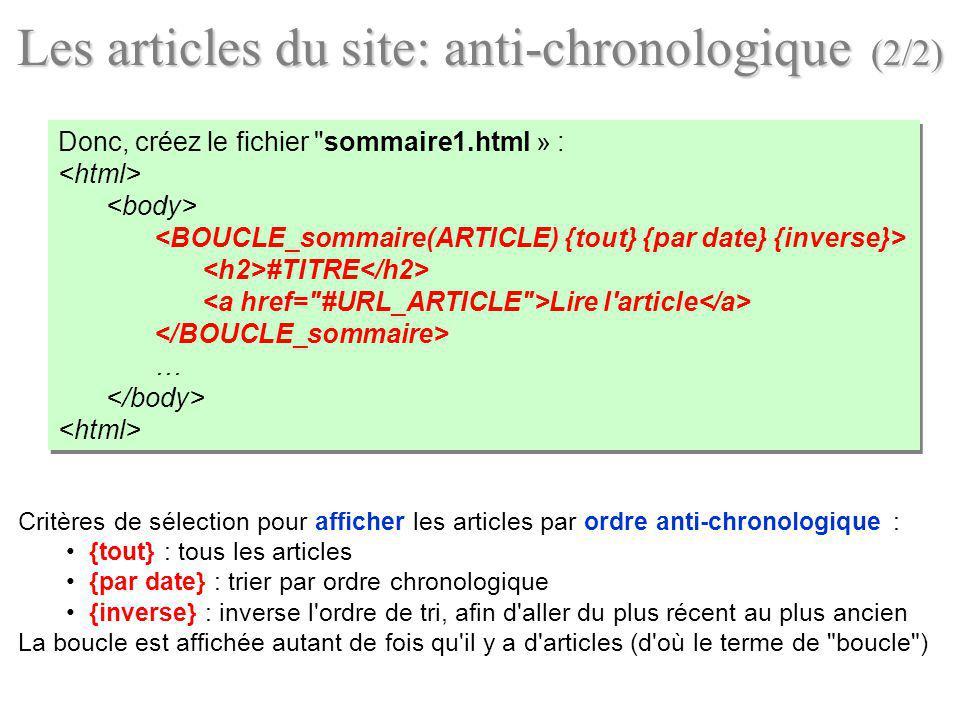 Les articles du site: anti-chronologique (2/2)