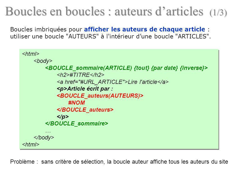 Boucles en boucles : auteurs d'articles (1/3)