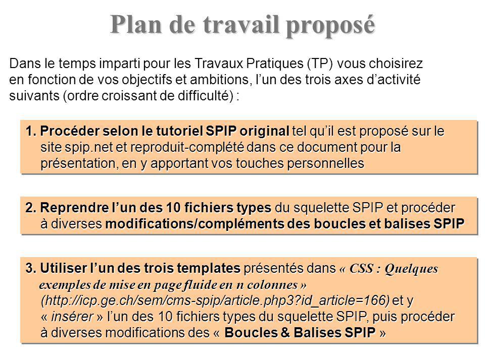 Plan de travail proposé