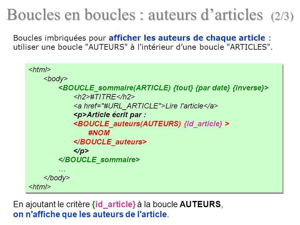 Boucles en boucles : auteurs d'articles (2/3)