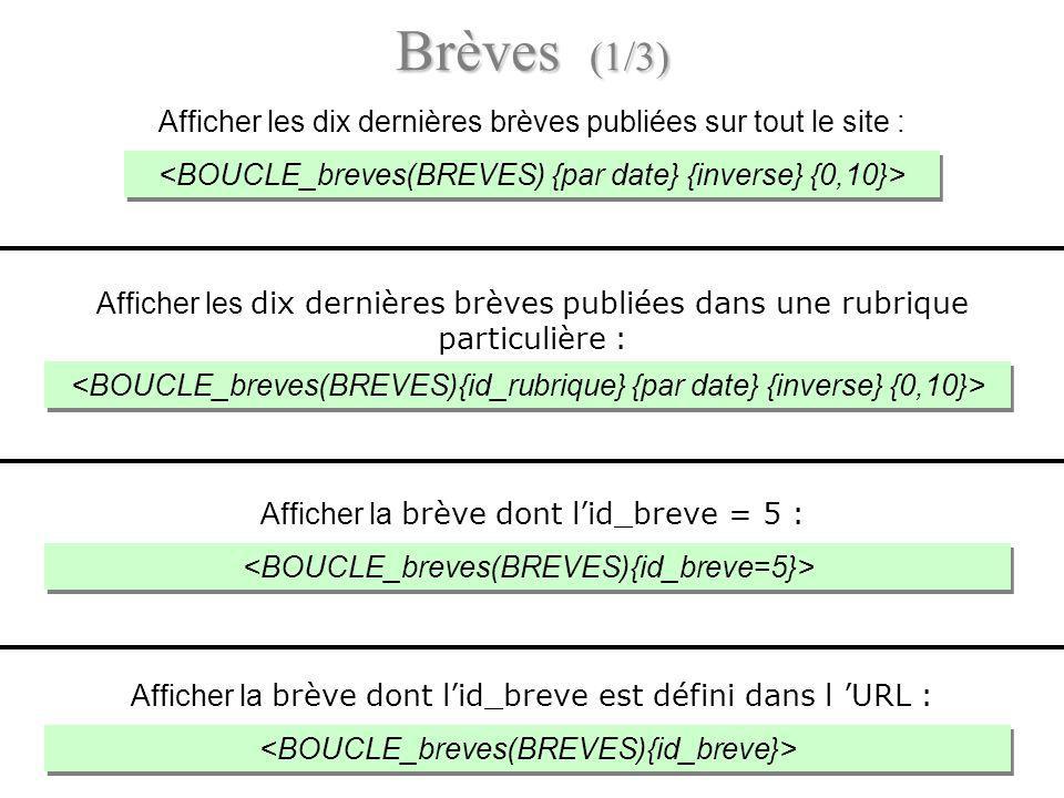 Brèves (1/3) Afficher les dix dernières brèves publiées sur tout le site : <BOUCLE_breves(BREVES) {par date} {inverse} {0,10}>