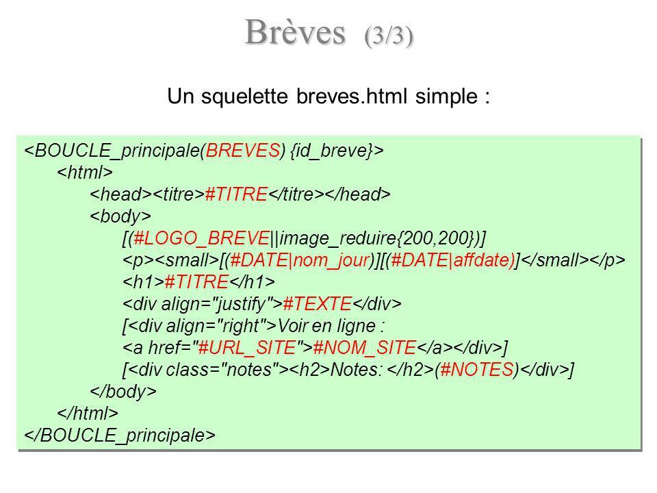 Un squelette breves.html simple :