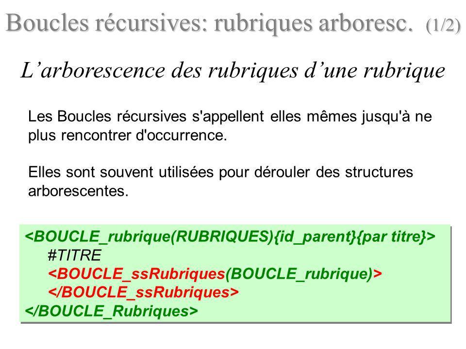 Boucles récursives: rubriques arboresc. (1/2)