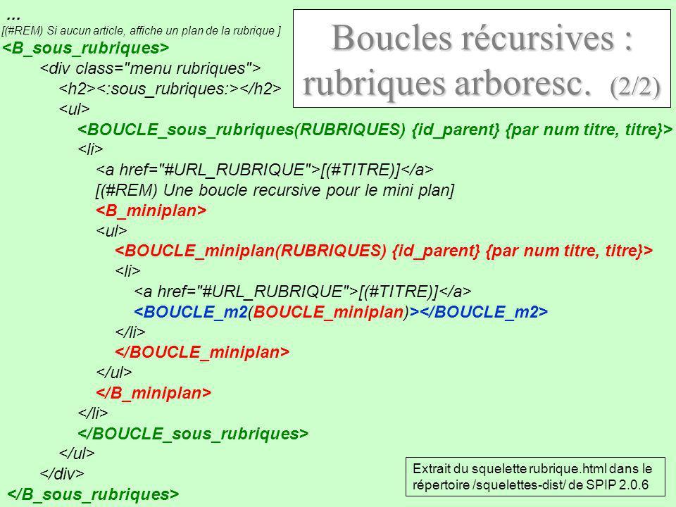 Boucles récursives : rubriques arboresc. (2/2)