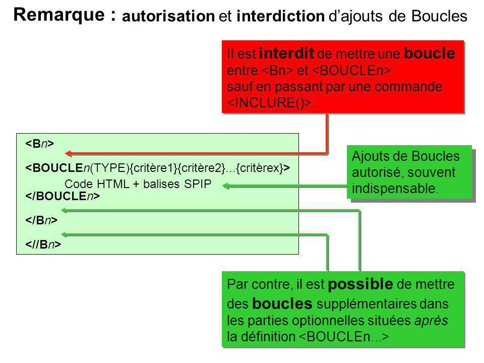 Remarque : autorisation et interdiction d'ajouts de Boucles
