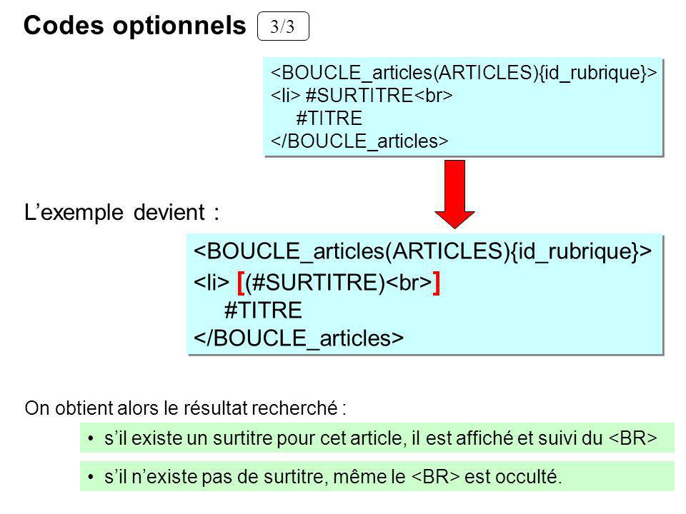 Codes optionnels L'exemple devient :