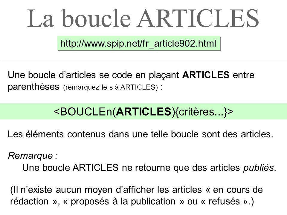 <BOUCLEn(ARTICLES){critères...}>